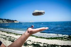 投掷石头的手 免版税图库摄影