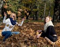 投掷黄色叶子的两个美丽的少妇 免版税库存照片