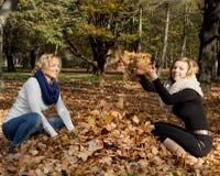 投掷黄色叶子的两名年轻白种人妇女 免版税图库摄影