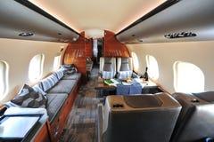 投炸弹者全球性6000企业喷气机豪华和宽敞内部在新加坡Airshow 免版税库存图片