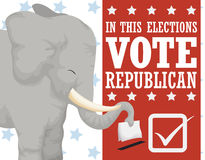 投票支持在美国竞选的共和党,传染媒介例证的逗人喜爱的大象 向量例证