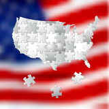 投票支持美国,由白色难题做的竞选背景 图库摄影