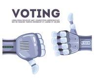 投票表决概念性想法技术的机器人手 人工智能未来派设计观念 好想法 库存例证