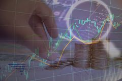 投资两次曝光在股市或外汇贸易的我 免版税图库摄影
