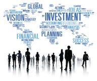 投资全球企业赢利银行业务预算概念 免版税库存照片