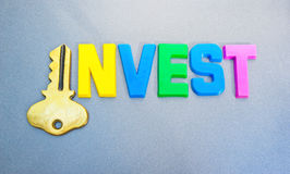 投资关键徽标可能 库存照片