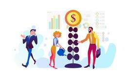 投资和真正财务 通信和当代营销 运转在投资的未来设备 向量例证