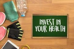 投资在您的与饮食和fi的健康健康生活方式概念 免版税图库摄影