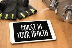 投资在您的与饮食和fi的健康健康生活方式概念 库存图片
