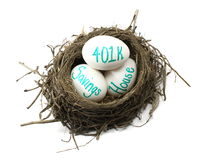 投资嵌套的鸡蛋 免版税库存图片