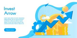 投资服务的概念,在平的设计的传染媒介例证 库存照片