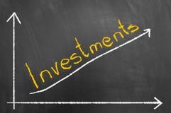 投资用粉笔写文本和箭头图表在黑板 免版税库存图片