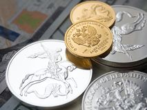 投资硬币的俄国金子 免版税库存照片