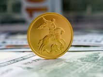 投资硬币的俄国金子 库存照片