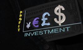 投资赢利日程表从货币符号3D的 免版税库存图片