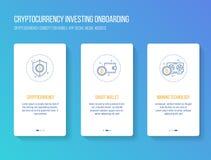 投资onboarding的流动app初排的Cryptocurrency筛选现代,干净和简单的概念 传染媒介例证模板 免版税图库摄影