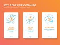 投资onboarding的流动app初排的Cryptocurrency筛选现代,干净和简单的概念 传染媒介例证模板 库存图片