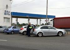 投递路线警察在联邦高速公路`唐`巡逻在克拉斯诺达尔疆土 免版税库存图片