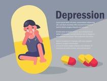 沮丧的妇女 抗抑郁剂概念平的少年痛苦泪花 库存例证