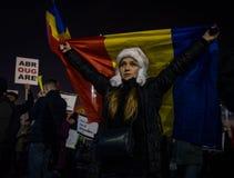 抗议与15,000个人在布加勒斯特反对正义法律  免版税库存照片