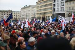 抗议反对分裂力量,抗议委员会的破坏防御民主(KOD),波兹南,波兰 免版税库存照片