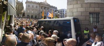 抗议召集自由和独立西班牙卡塔龙尼亚巴塞罗那 图库摄影