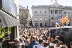 抗议召集自由和独立西班牙卡塔龙尼亚巴塞罗那 库存照片
