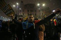 抗议在反对腐败的布加勒斯特 免版税库存照片