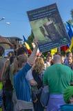 抗议在反对非法采伐的布加勒斯特 免版税库存照片