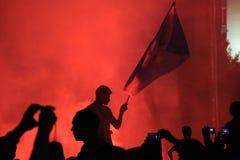 抗议在土耳其塔克西姆广场,塔克西姆广场, Atatà ¼ rk雕象 免版税库存照片