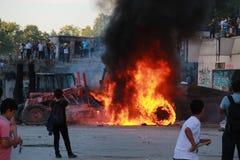 抗议在土耳其塔克西姆广场,塔克西姆广场, Atatà ¼ rk雕象 免版税图库摄影