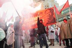 抗议在多伦多。 库存照片