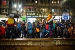 抗议在布加勒斯特,罗马尼亚 免版税图库摄影