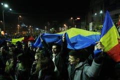 抗议在布加勒斯特,罗马尼亚 库存照片
