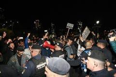 抗议在布加勒斯特,罗马尼亚 库存图片