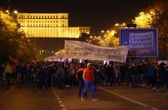 抗议在布加勒斯特,罗马尼亚 免版税库存图片