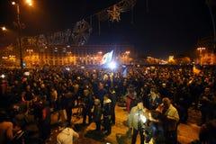 抗议在布加勒斯特,罗马尼亚 图库摄影