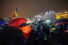 抗议在布加勒斯特,罗马尼亚 免版税库存照片