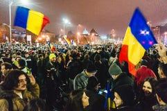 抗议在布加勒斯特 免版税图库摄影