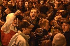 抗议在正义的布加勒斯特 免版税库存照片