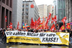抗议在法兰克福 免版税库存图片