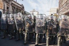 抗议在瓦尔帕莱索 库存图片
