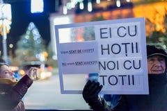 抗议在罗马尼亚在2017年12月 图库摄影