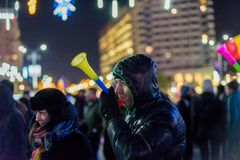 抗议在罗马尼亚在2017年12月 免版税库存照片