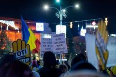 抗议在罗马尼亚在2017年12月 免版税库存图片