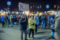 抗议在罗马尼亚在2017年12月 库存图片