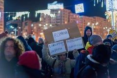 抗议在罗马尼亚在2017年12月 免版税图库摄影