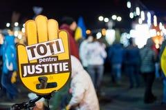 抗议在罗马尼亚在2017年12月 库存照片