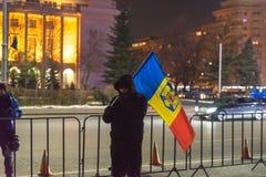 24 01 2018抗议在罗马尼亚 库存照片