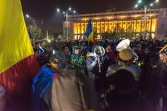 24 01 2018抗议在罗马尼亚 免版税库存照片
